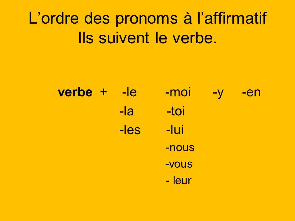 L'ordre des pronoms à l'affirmatif Ils suivent le verbe.
