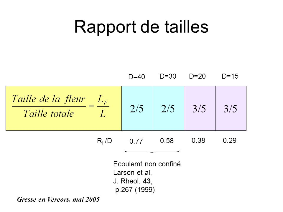 Rapport de tailles 2/5 2/5 3/5 3/5 D=40 D=30 D=20 D=15 RF/D 0.77 0.58
