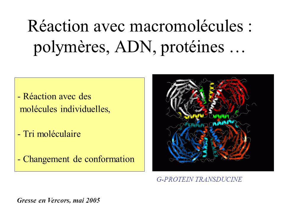 Réaction avec macromolécules : polymères, ADN, protéines …