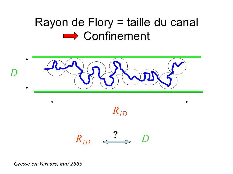 Rayon de Flory = taille du canal Confinement