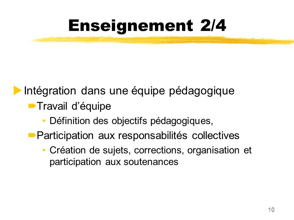 Enseignement 2/4 Intégration dans une équipe pédagogique