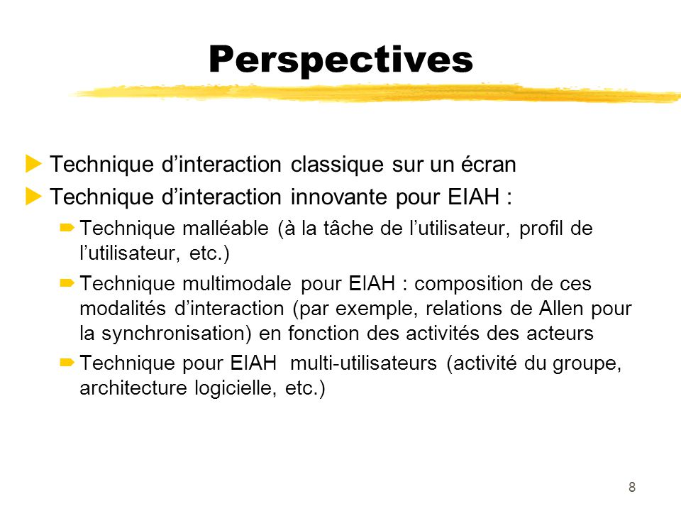 Perspectives Technique d'interaction classique sur un écran