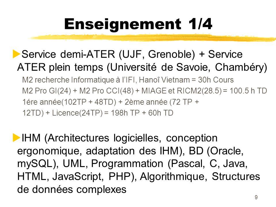 Enseignement 1/4 Service demi-ATER (UJF, Grenoble) + Service ATER plein temps (Université de Savoie, Chambéry)