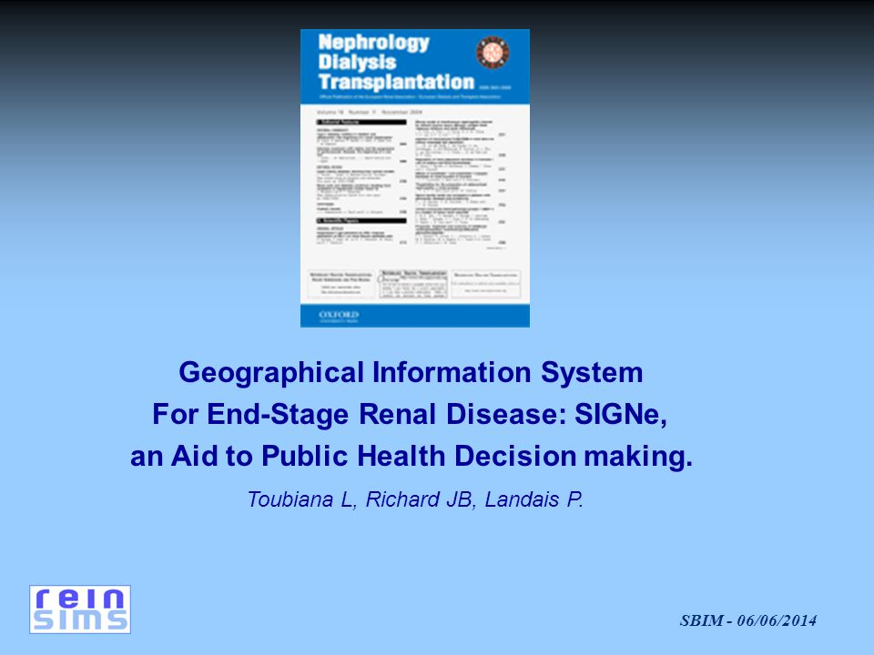 Geographical Information System For End‑Stage Renal Disease: SIGNe,
