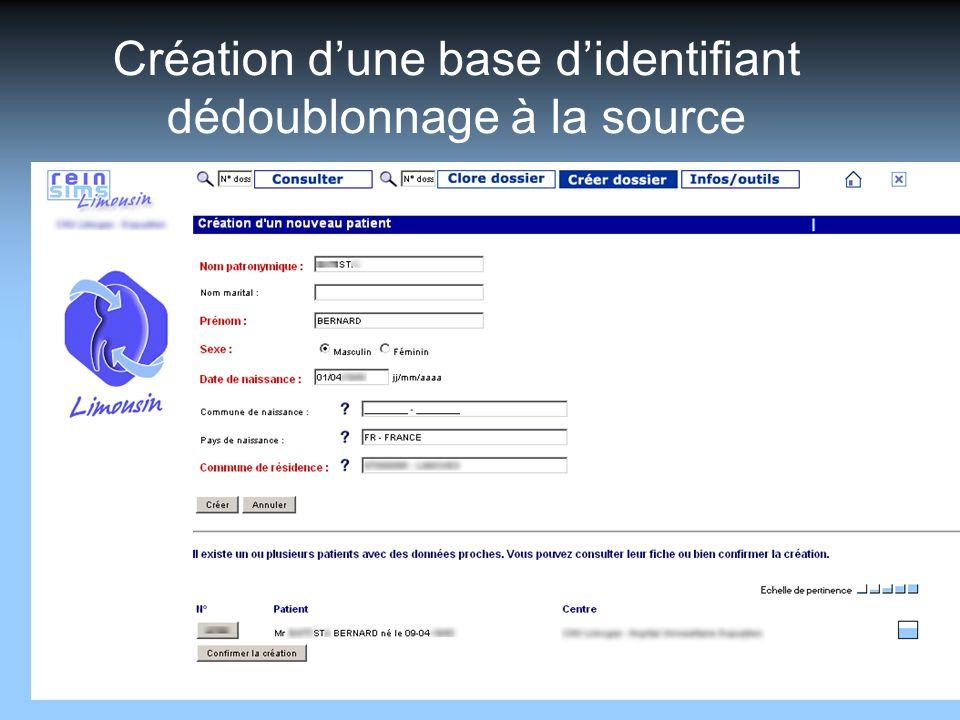 Création d'une base d'identifiant dédoublonnage à la source