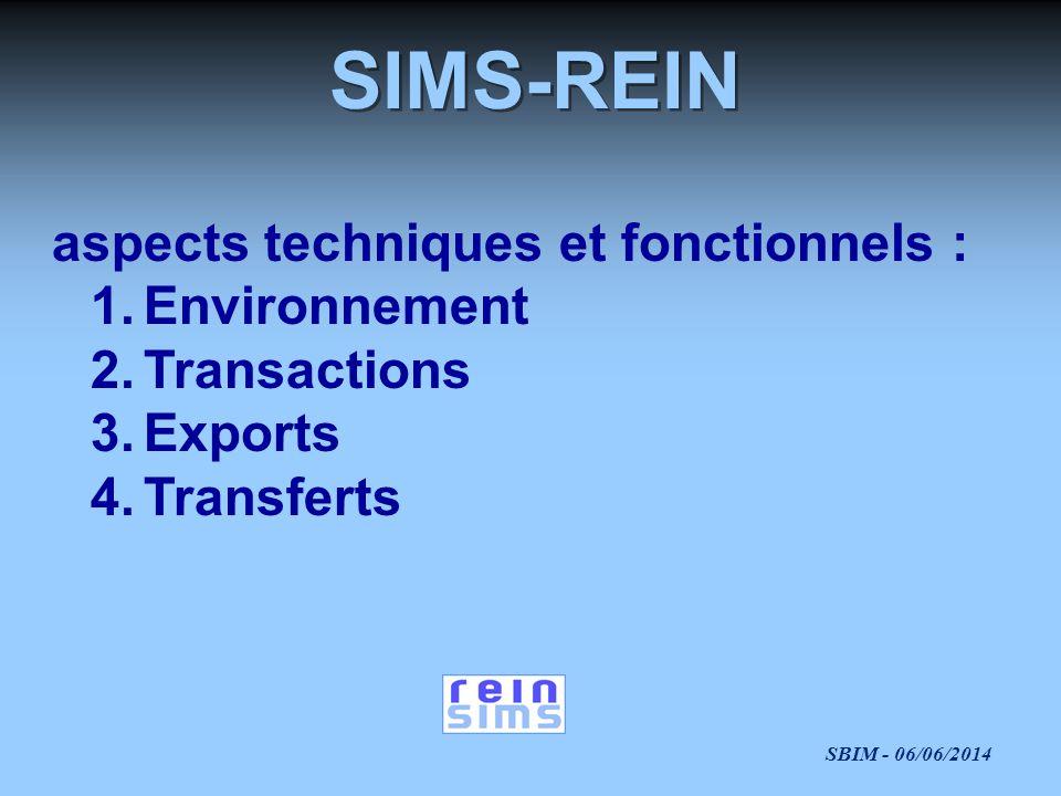 SIMS-REIN aspects techniques et fonctionnels : Environnement