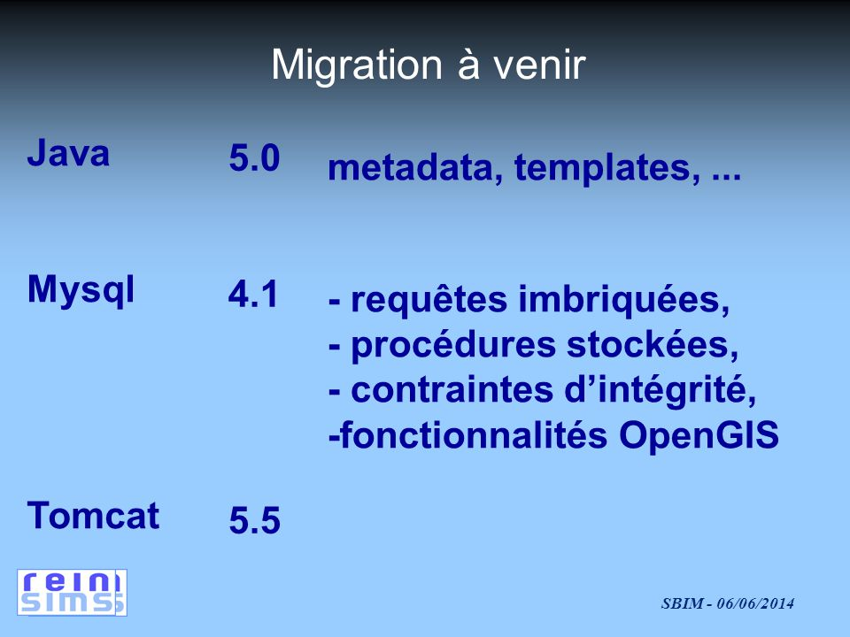 Migration à venir Java 5.0 metadata, templates, ... Mysql 4.1