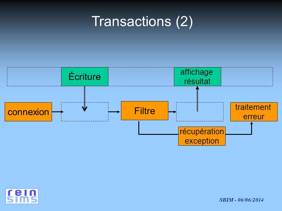 Transactions (2) Écriture Filtre connexion affichage résultat