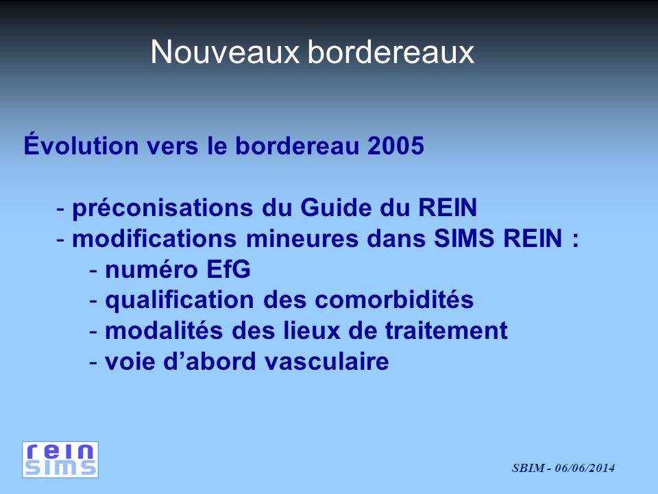 Nouveaux bordereaux Évolution vers le bordereau 2005