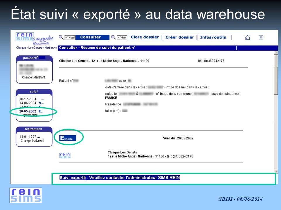 État suivi « exporté » au data warehouse