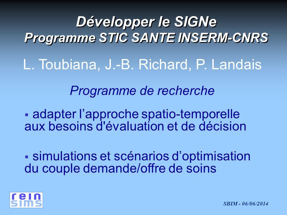 Développer le SIGNe Programme STIC SANTE INSERM-CNRS