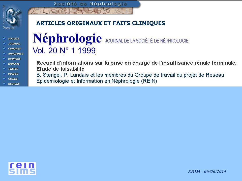 Néphrologie JOURNAL DE LA SOCIÉTÉ DE NÉPHROLOGIE