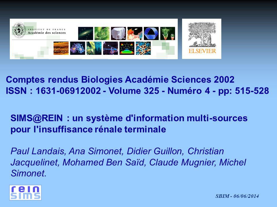 Comptes rendus Biologies Académie Sciences 2002 ISSN : 1631-06912002 - Volume 325 - Numéro 4 - pp: 515-528