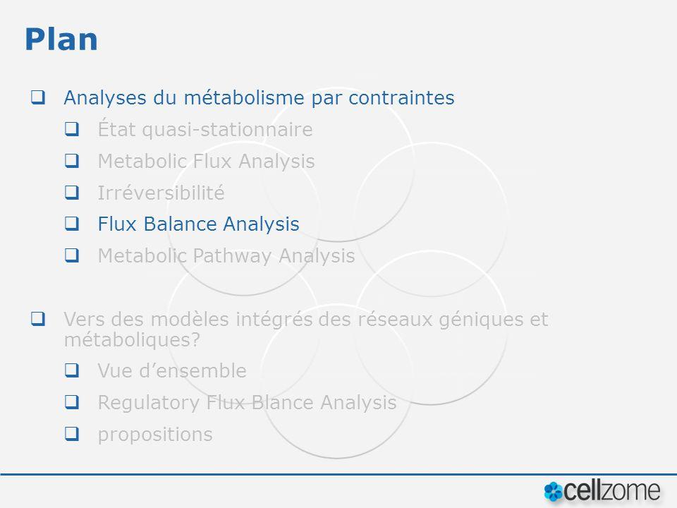 Plan Analyses du métabolisme par contraintes État quasi-stationnaire