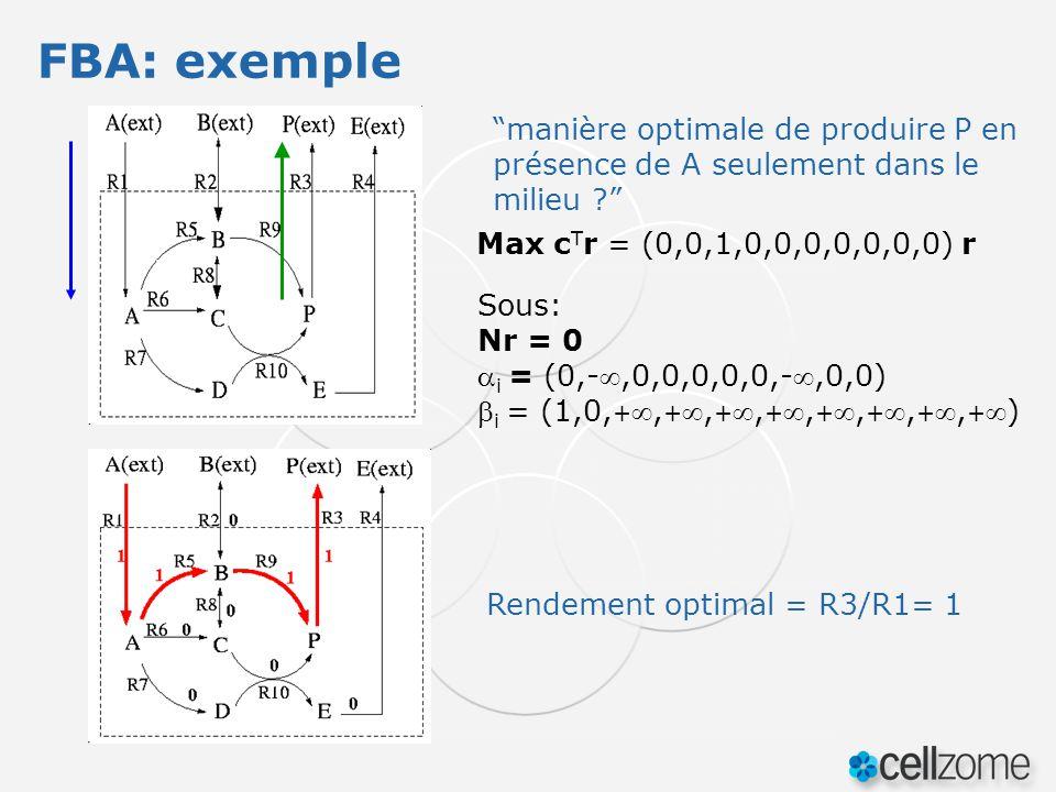 FBA: exemple manière optimale de produire P en présence de A seulement dans le milieu Max cTr = (0,0,1,0,0,0,0,0,0,0) r.