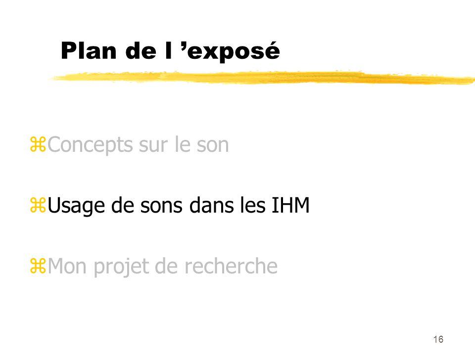 Plan de l 'exposé Concepts sur le son Usage de sons dans les IHM