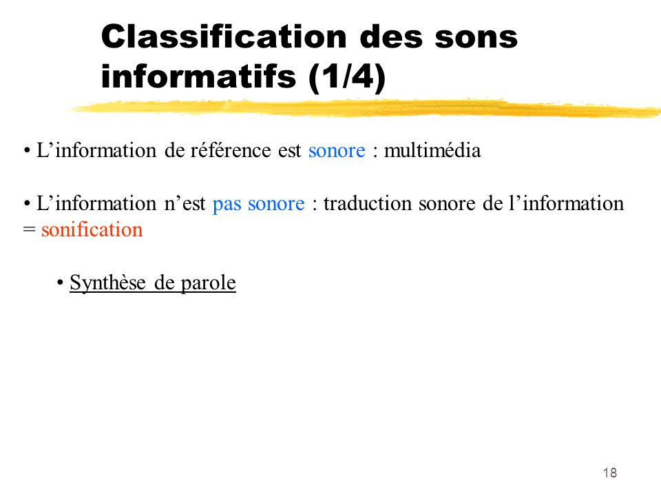 Classification des sons informatifs (1/4)