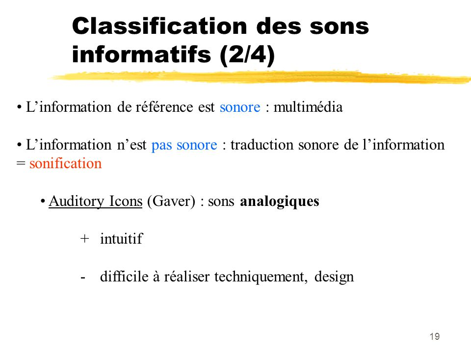 Classification des sons informatifs (2/4)