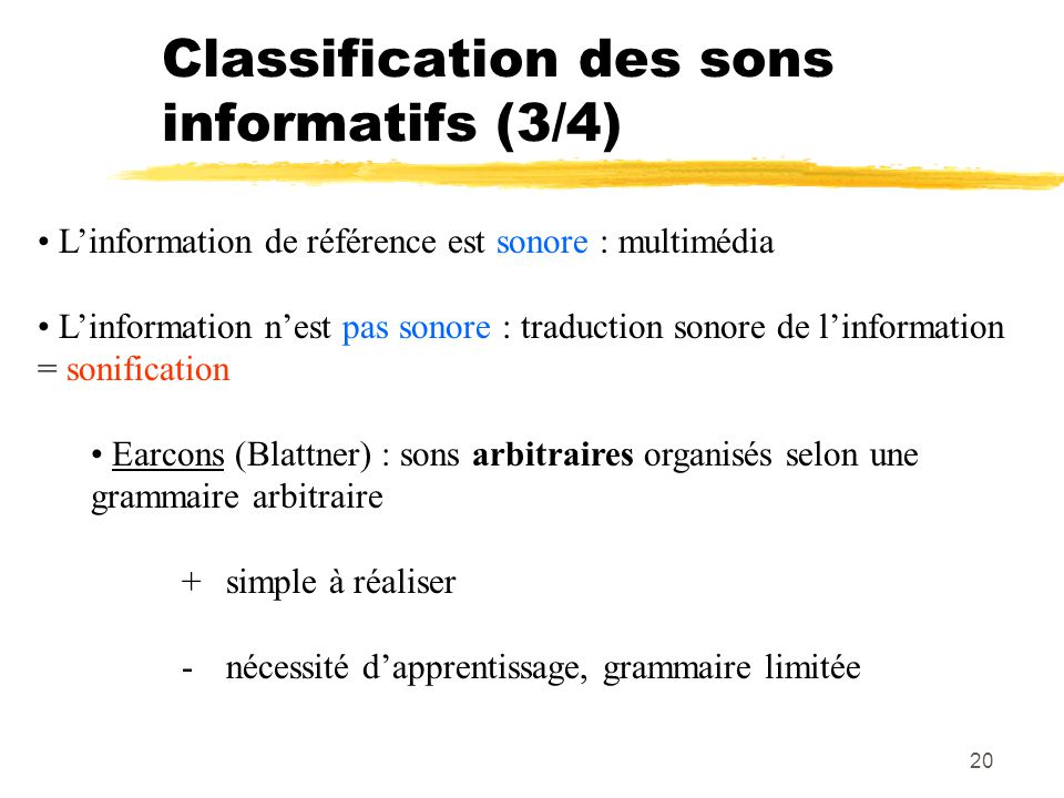 Classification des sons informatifs (3/4)
