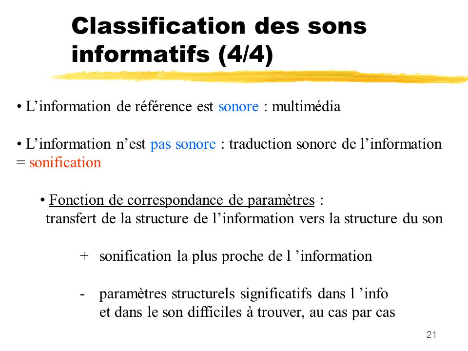 Classification des sons informatifs (4/4)