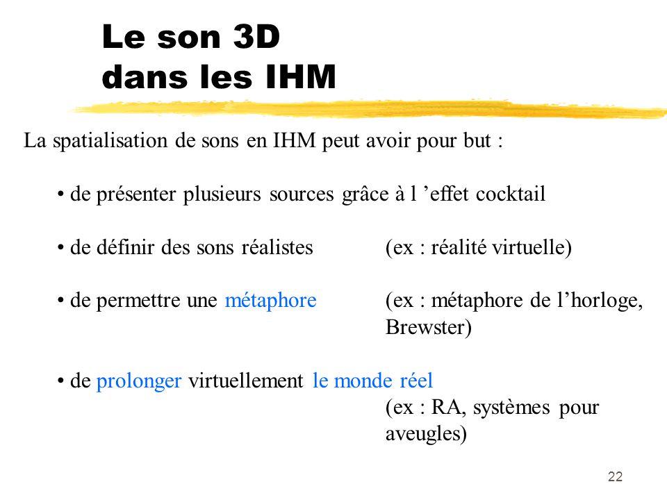 Le son 3D dans les IHM La spatialisation de sons en IHM peut avoir pour but : de présenter plusieurs sources grâce à l 'effet cocktail.