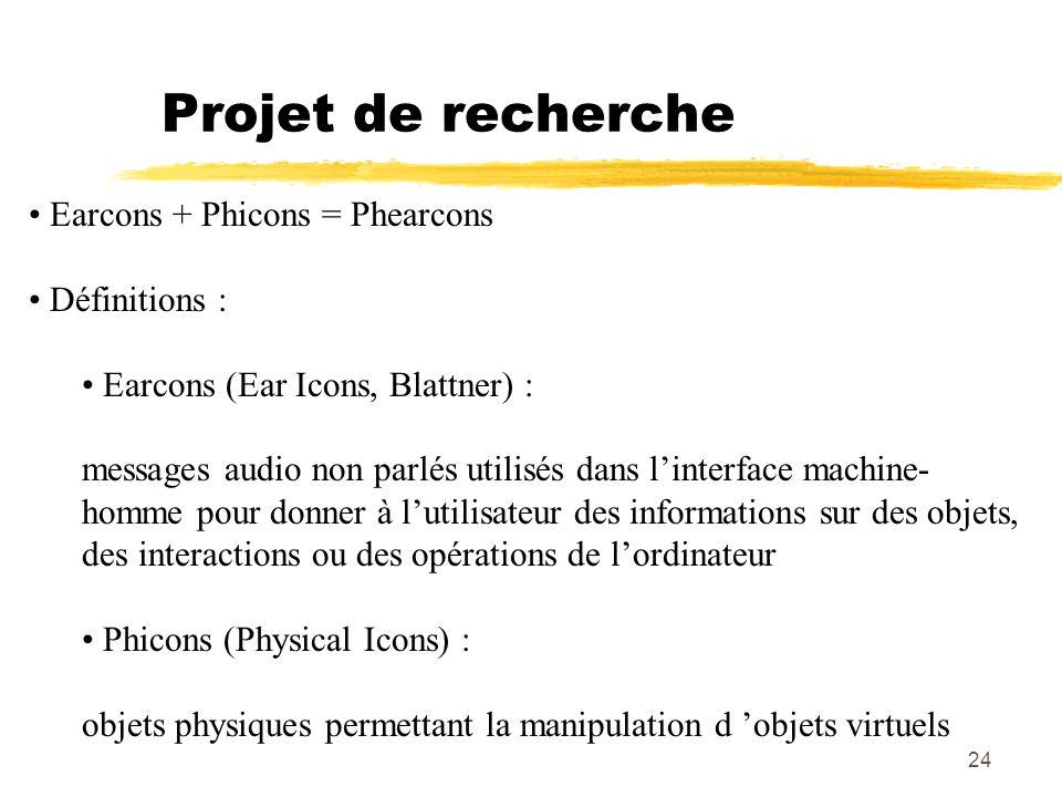 Projet de recherche Earcons + Phicons = Phearcons Définitions :