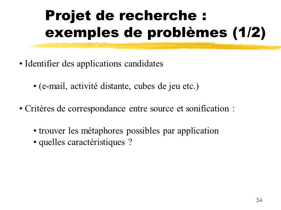 Projet de recherche : exemples de problèmes (1/2)