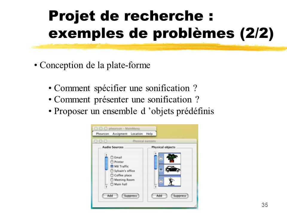 Projet de recherche : exemples de problèmes (2/2)
