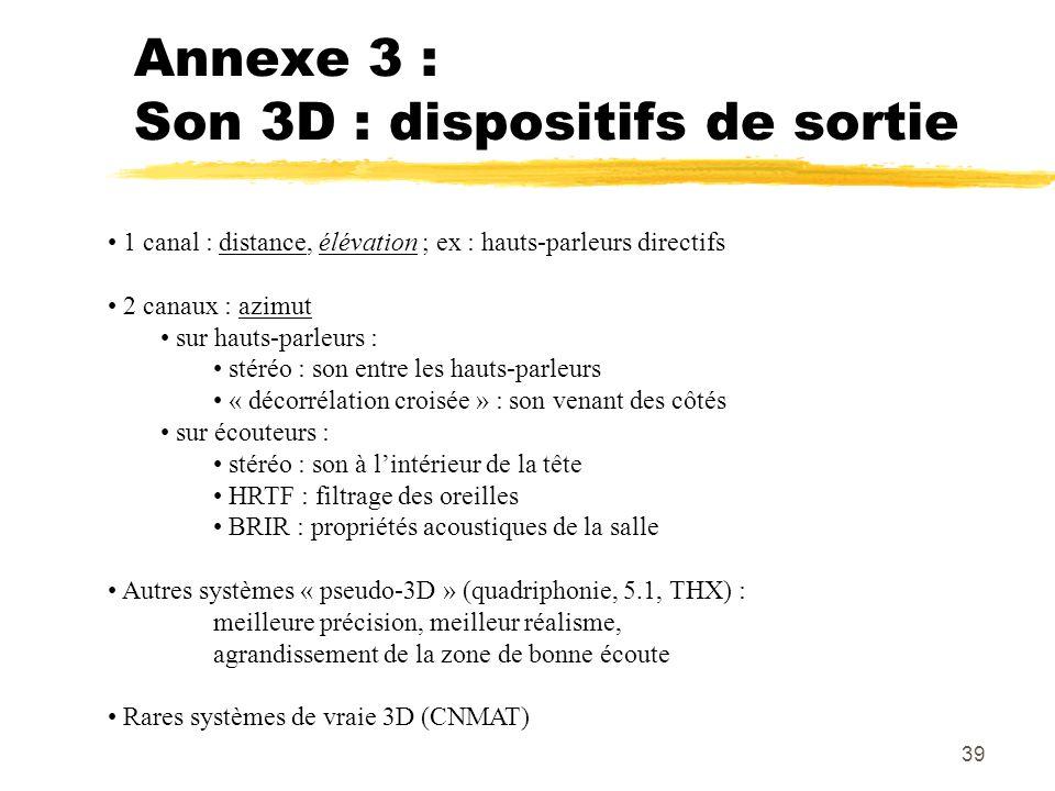 Annexe 3 : Son 3D : dispositifs de sortie