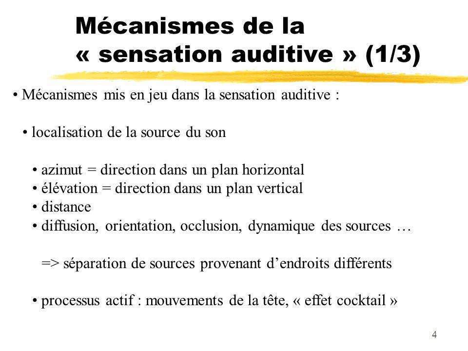 Mécanismes de la « sensation auditive » (1/3)