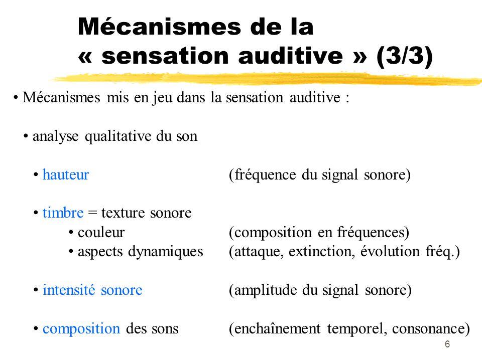 Mécanismes de la « sensation auditive » (3/3)