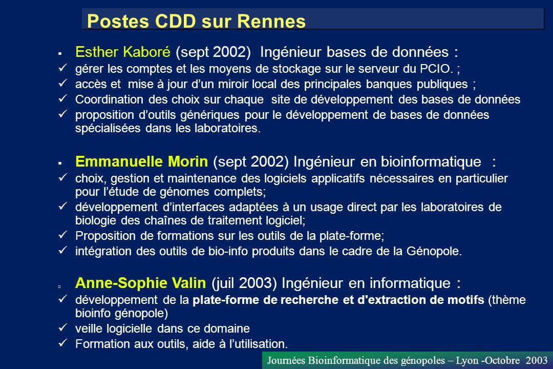 Postes CDD sur Rennes Esther Kaboré (sept 2002) Ingénieur bases de données : gérer les comptes et les moyens de stockage sur le serveur du PCIO. ;