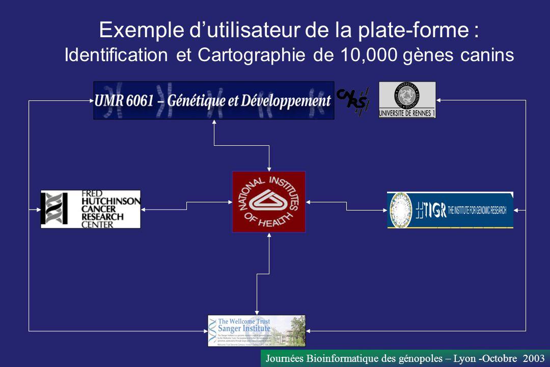 Exemple d'utilisateur de la plate-forme : Identification et Cartographie de 10,000 gènes canins