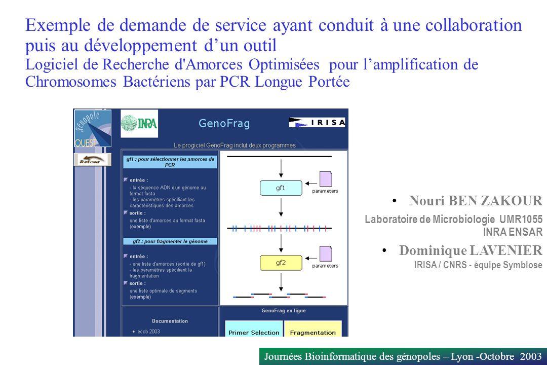 Exemple de demande de service ayant conduit à une collaboration puis au développement d'un outil Logiciel de Recherche d Amorces Optimisées pour l'amplification de Chromosomes Bactériens par PCR Longue Portée