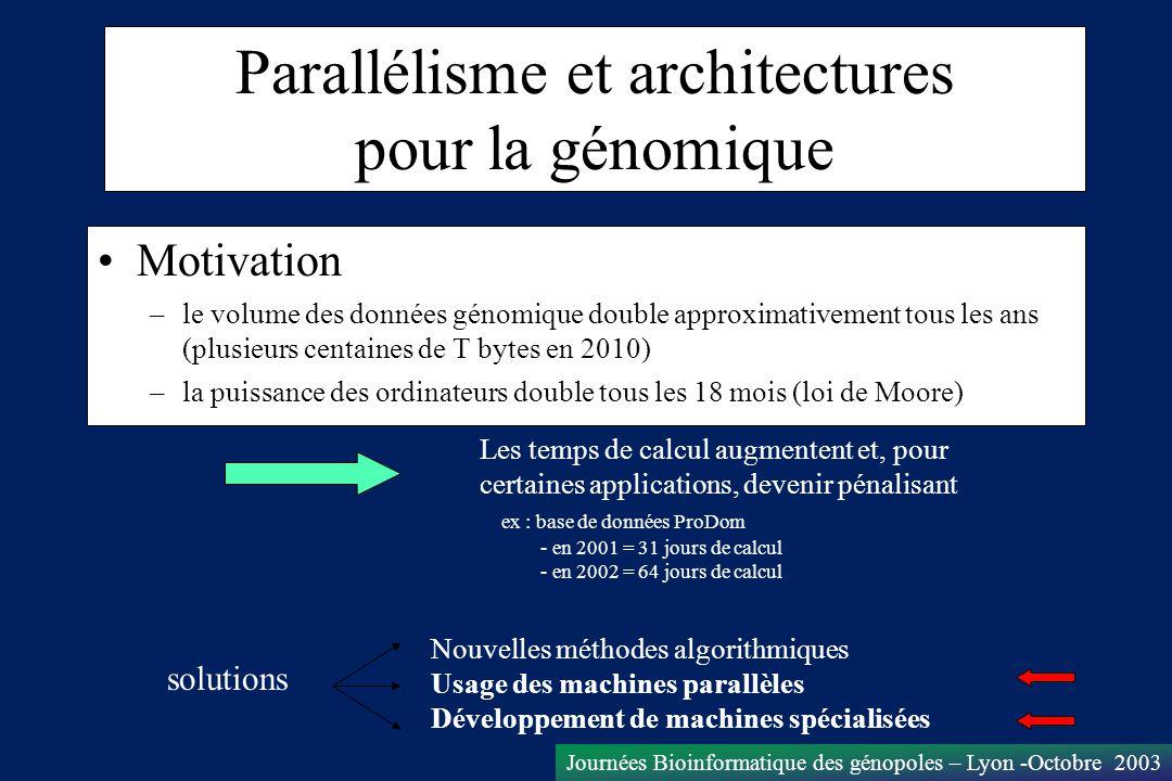 Parallélisme et architectures pour la génomique