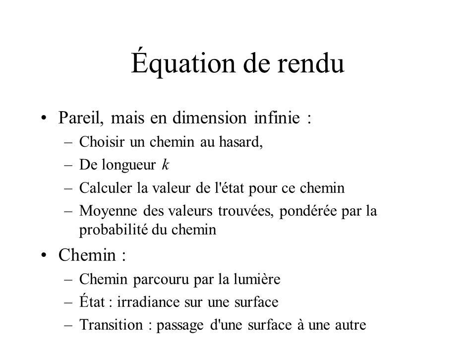 Équation de rendu Pareil, mais en dimension infinie : Chemin :