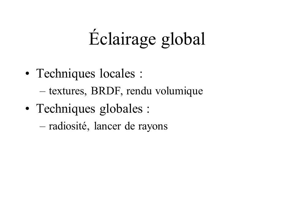 Éclairage global Techniques locales : Techniques globales :