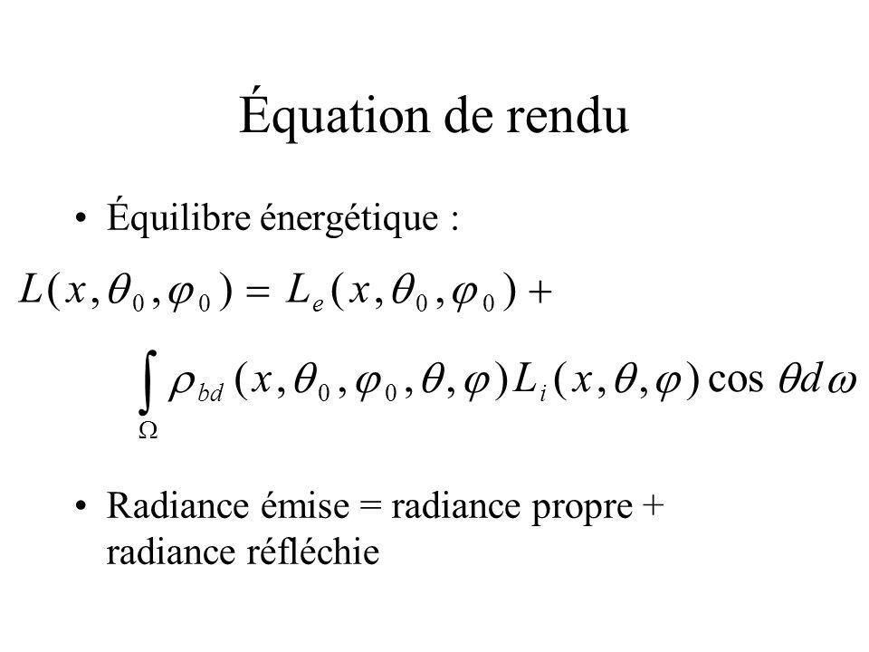  Équation de rendu L ( x ,   )    ( x ,   ) L cos d 