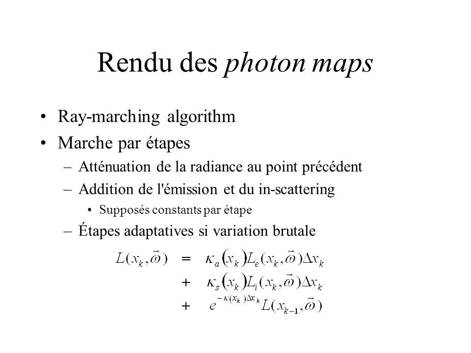 Rendu des photon maps Ray-marching algorithm Marche par étapes