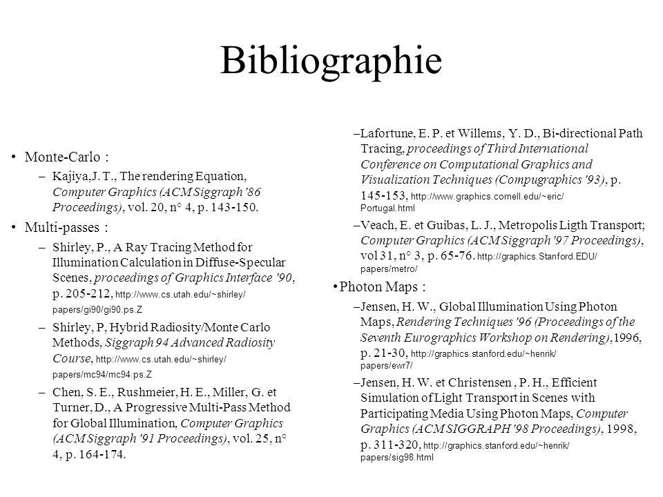 Bibliographie Monte-Carlo : Multi-passes : Photon Maps :