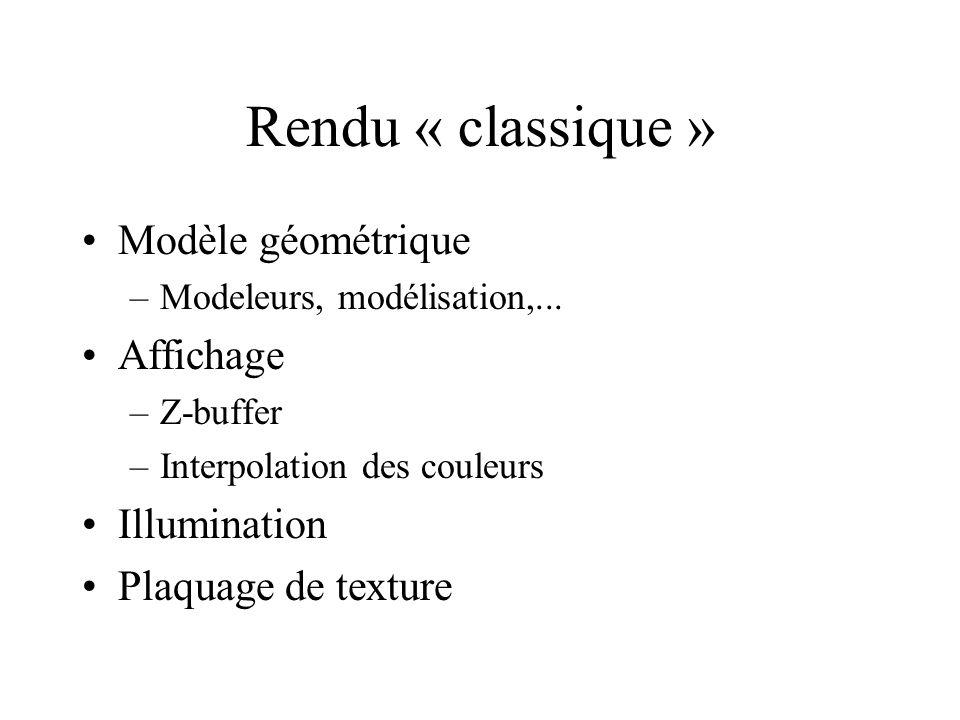 Rendu « classique » Modèle géométrique Affichage Illumination