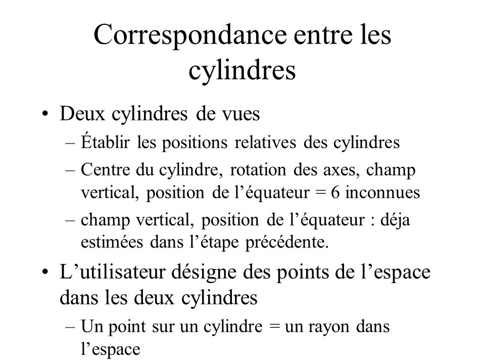 Correspondance entre les cylindres