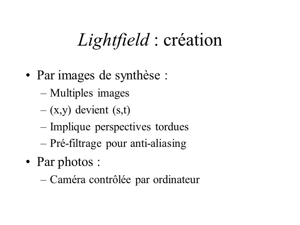 Lightfield : création Par images de synthèse : Par photos :