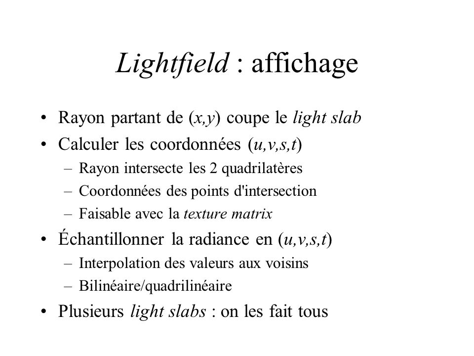Lightfield : affichage
