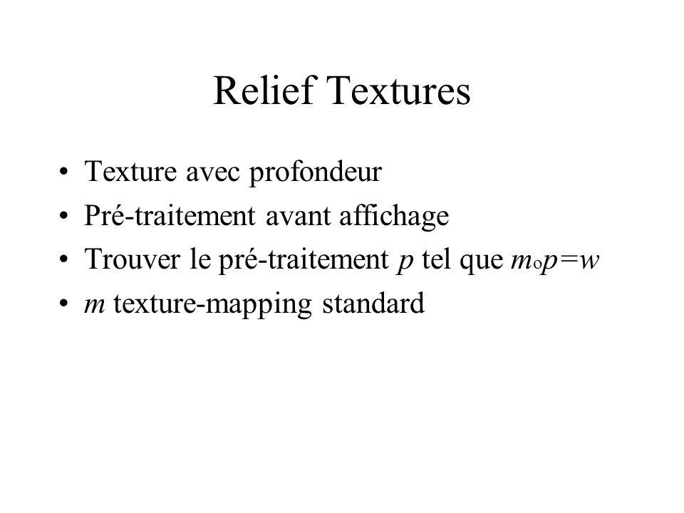 Relief Textures Texture avec profondeur Pré-traitement avant affichage