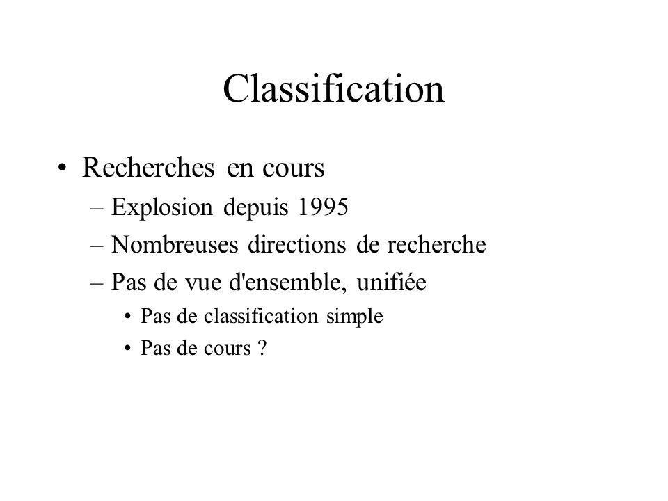 Classification Recherches en cours Explosion depuis 1995