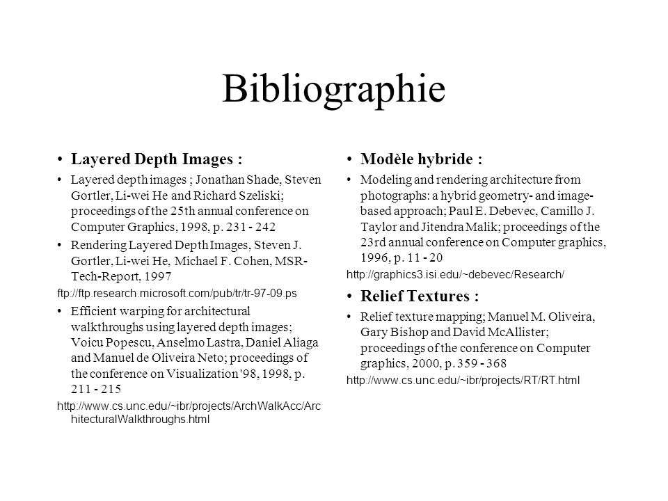 Bibliographie Layered Depth Images : Modèle hybride :