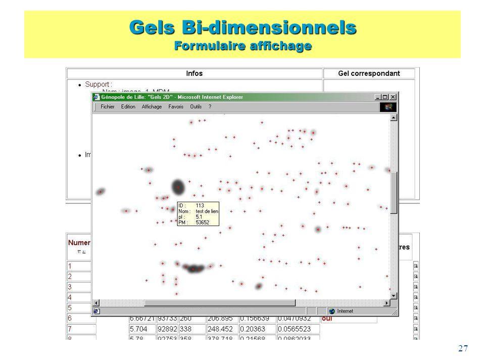 Gels Bi-dimensionnels Formulaire affichage