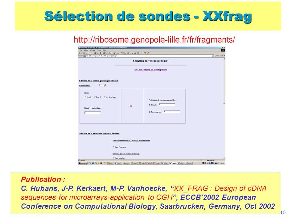 Sélection de sondes - XXfrag