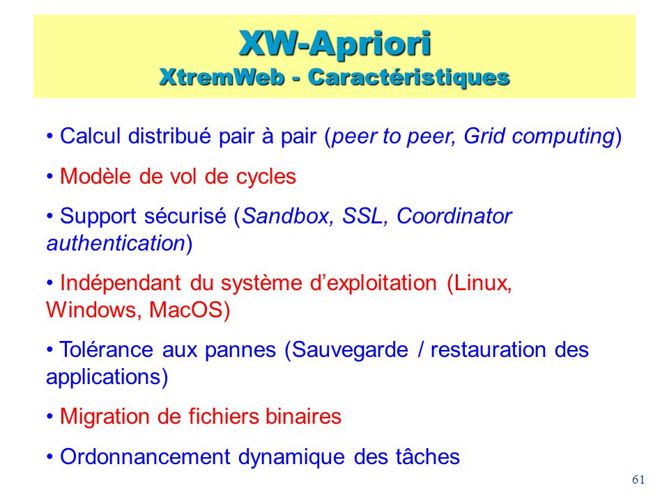 XW-Apriori XtremWeb - Caractéristiques
